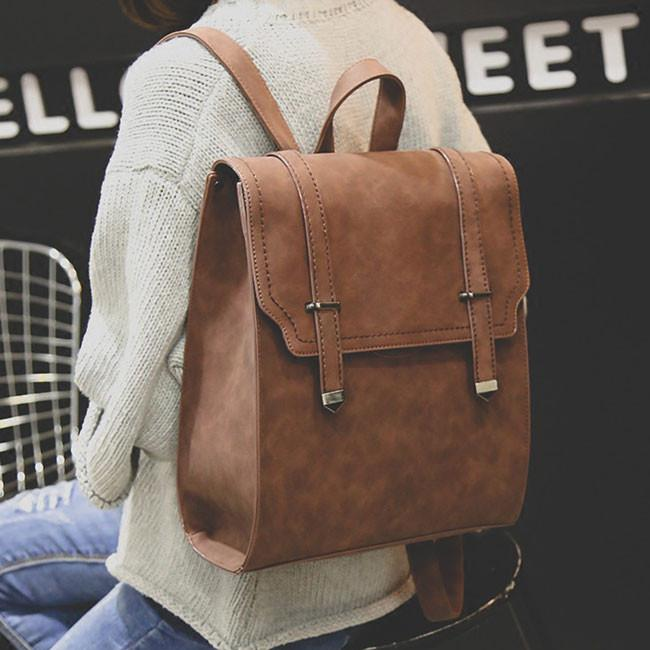 Retro Matte Square PU Metal Lock Match Large Scrub College Backpack For Big Sale!- Fowish.com