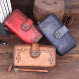 Retro Clutch Bag Embroidered Single Buckle Cowhide hand-washed Long Ladies Wallet Original Leather Purse