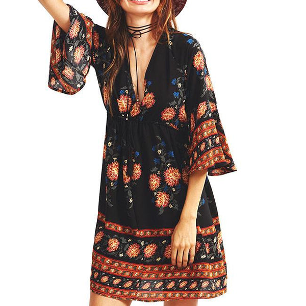 Women's V-neck Three-quarter Length Trumpet sleeves National Style Printing Dress For Big Sale!- Fowish.com