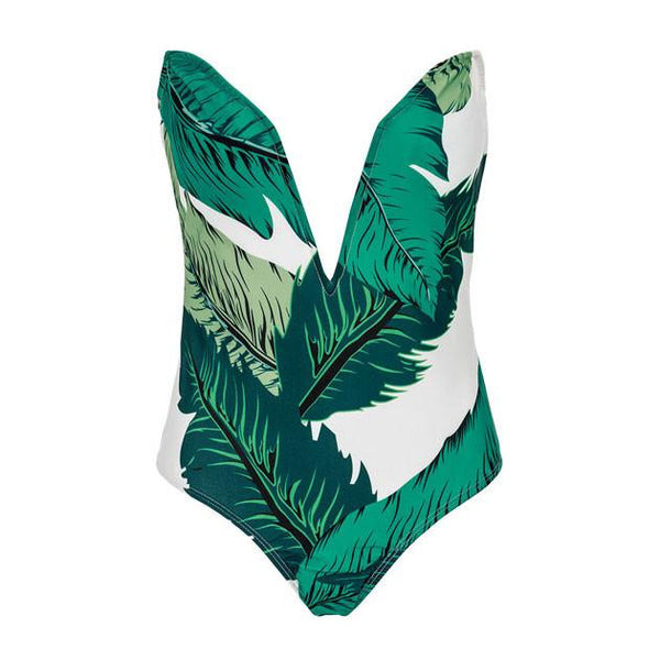 Bra Banana Leaf Print Siamese Bikinis For Big Sale!- Fowish.com