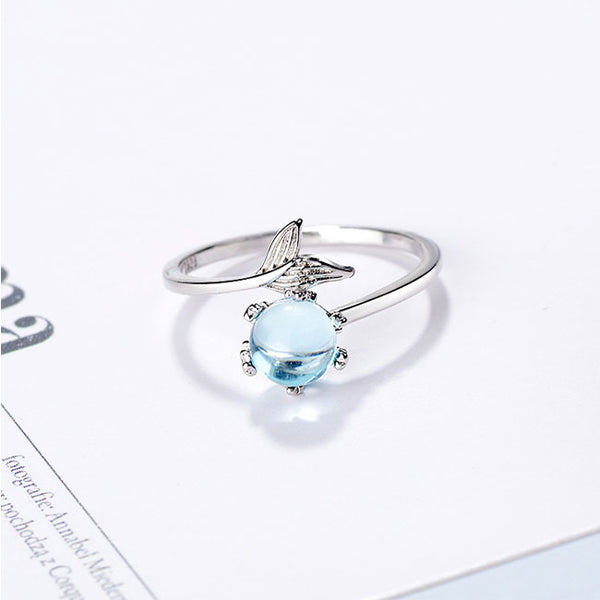 Cute Mermaid Tail Lover Gift Opal Open Silver Women Ring