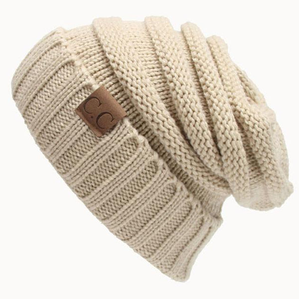 Toasty Wool Knit CC Beanie Warm Hat Women's Knit Beanie Hats For Big Sale!- Fowish.com