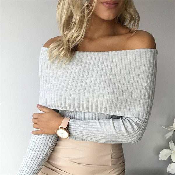 Women's Off The Shoulder Knit Sweater 6 Colors For Big Sale!- Fowish.com