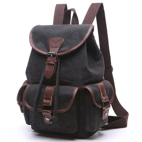 Retro Draw String Flap School Backpack Belt Metal Lock Large Leisure Canvas Travel Backpack For Big Sale!- Fowish.com