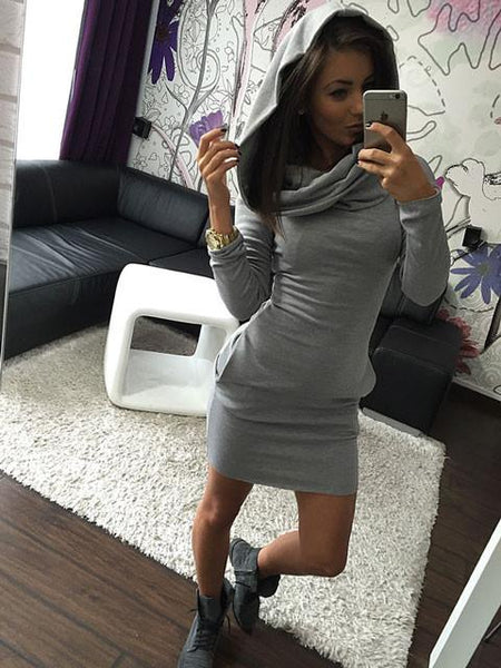 Hooded Hip long - sleeved Three - color Sweater Slim Dress For Big Sale!- Fowish.com