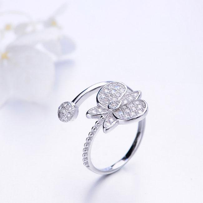 Unique Design Silver Butterfly Diamond Adjustable Open Ring For Big Sale!- Fowish.com