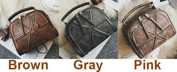 Retro Lines Separated Geometric Pattern PU Women Handbag Leisure Double Zippers Shoulder Bag For Big Sale!- Fowish.com