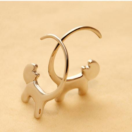 Lovely Cat Long Tail Hang Kitty Silver Women Earring Studs For Big Sale!- Fowish.com