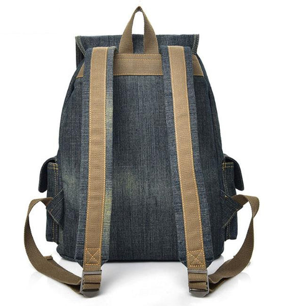 Retro Three Pockets Large Thick Canvas Bag Cowboy Denim School Backpack For Big Sale!- Fowish.com