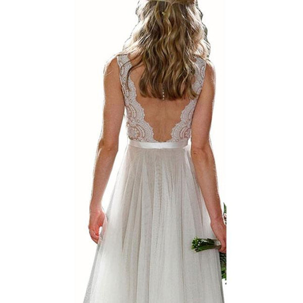 Sexy Women's Long V Neck Prom Dresses Lace Party Wedding Backless Dress For Big Sale!- Fowish.com