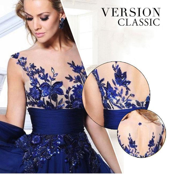 Fashion Women's Long Lace Prom Dresses Luxury See Through Flower Evening Dress For Big Sale!- Fowish.com