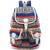 Folk Geometric Totem Two Pockets Belt Flap Drawstring School Backpack Girls Canvas Travel Backpack For Big Sale!- Fowish.com