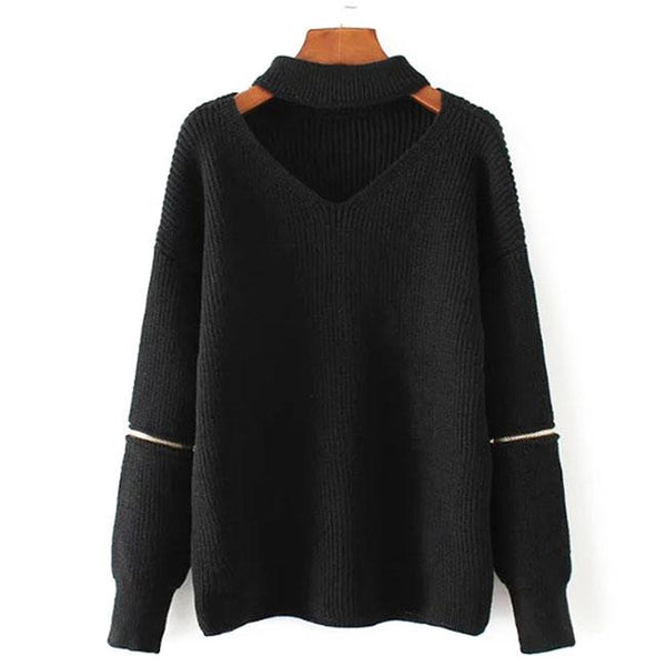 V-neck Choker Zipper Decorative Sleeves Sweater For Big Sale!- Fowish.com