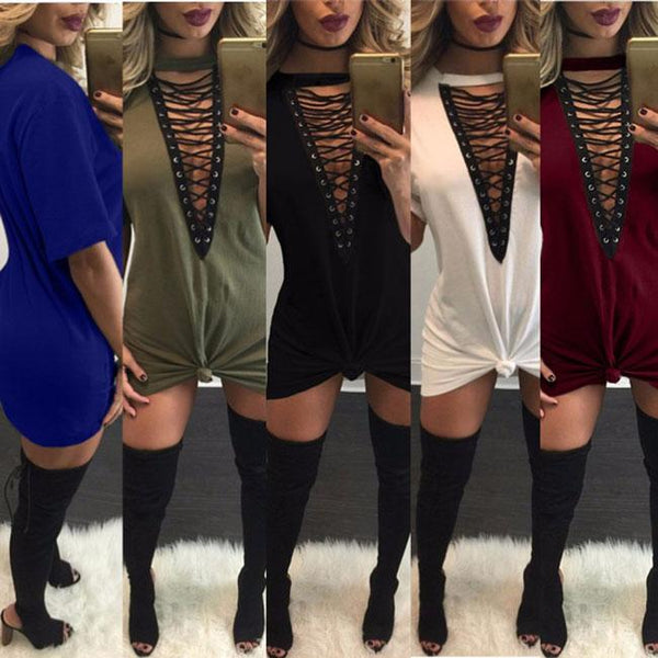 Sexy Women's Chest Hollowed-out Crossover Strap V-neck Loose T-shirt Dress For Big Sale!- Fowish.com