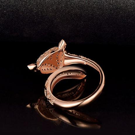 Cute Fox Lover Silver Rose Gold Animal Diamond Open Ring For Big Sale!- Fowish.com