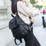 Leisure British Style Soft PU Leather Double Zippers School Black Travel Backpack For Big Sale!- Fowish.com