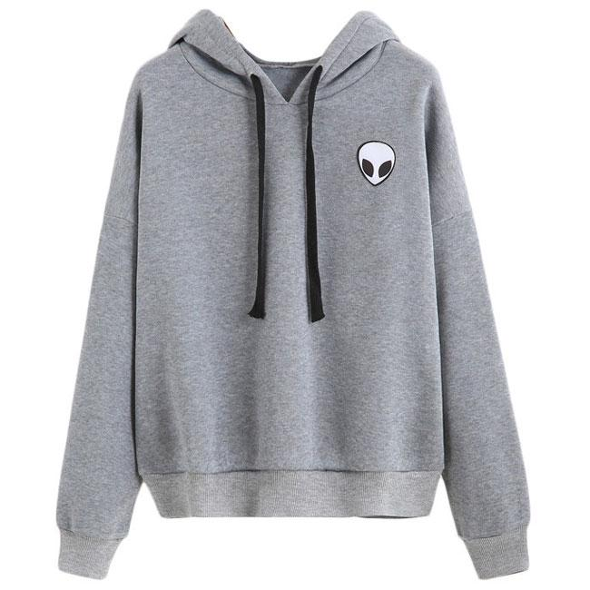 Solid Alien Gun Printing Hoodie Pullover Long Sleeves Women Sweater For Big Sale!- Fowish.com