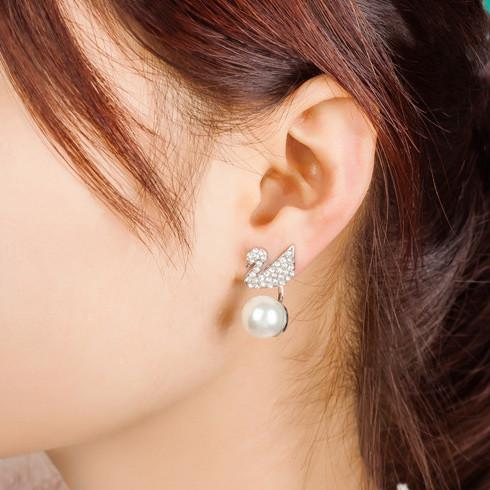 Cute Swan Hanging Pearl Eardrop Shining Animal Earring Studs For Big Sale!- Fowish.com