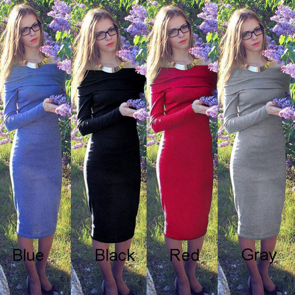 Women's Fashion Long Sleeve Strapless Low Cut Bodycon Dress For Big Sale!- Fowish.com