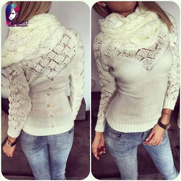 Hollowd-out Whole Color Fashion Women's Heaps Collar Sweater For Big Sale!- Fowish.com