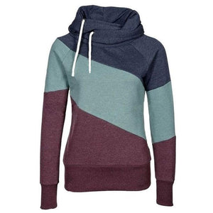 Fashion Women's Contrast Color Stitching Hoodie Pullover Sweater Cashmere Wool Sports Overcoat For Big Sale!- Fowish.com