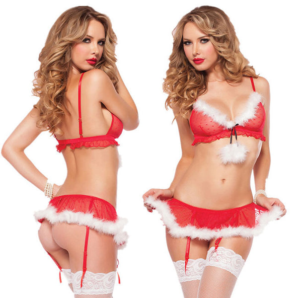 Sexy Fluff Women Christmas Costume With Garter Lingerie