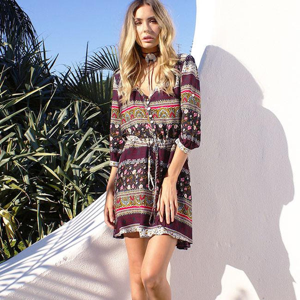 Women's Adjustable Half Sleeve Bohemian Printing Full-length Dress For Big Sale!- Fowish.com
