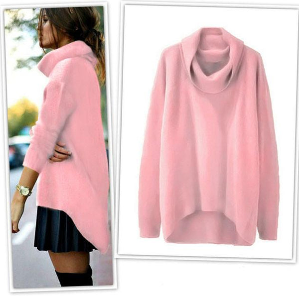 High Collar Thermal Irregular Rabbit Hair Sweater For Big Sale!- Fowish.com