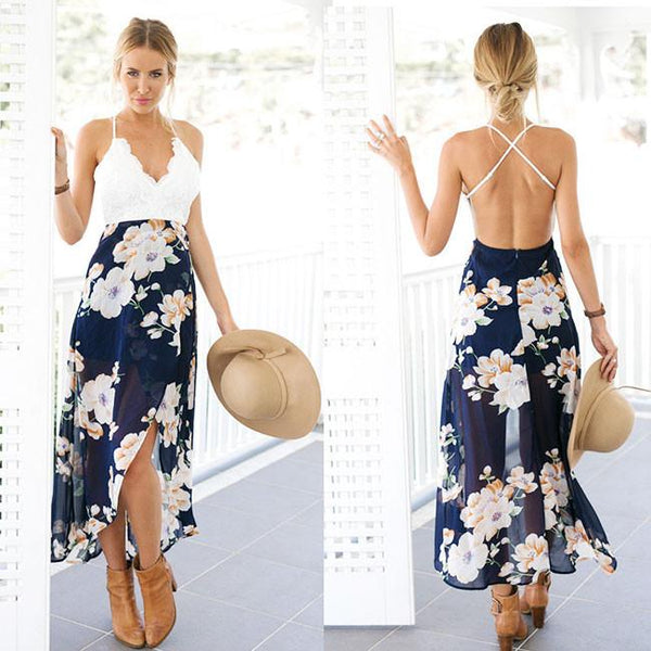 Slip Lace Splicing Backless Printing Chiffon Dress For Big Sale!- Fowish.com