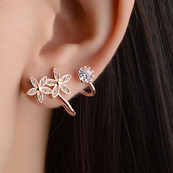 Fashion Women's Heart Flower Helix Diamond Ear Clips Earrings Studs For Big Sale!- Fowish.com