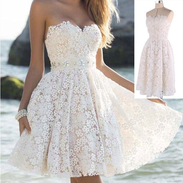 Elegant Strapless Party Women's A Line Flower Lace Prom Short Dresses For Big Sale!- Fowish.com