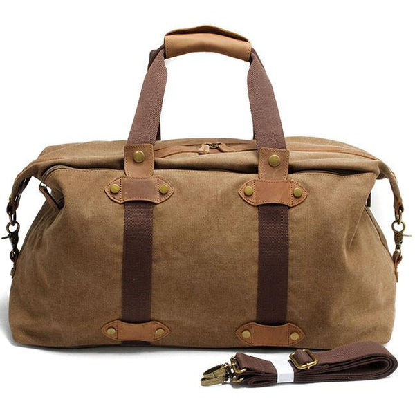 Vintage Splicing Leather Zipper Belt Luggage Bag Canvas Travel Shoulder Bags Retro Large Capacity Handbag For Big Sale!- Fowish.com