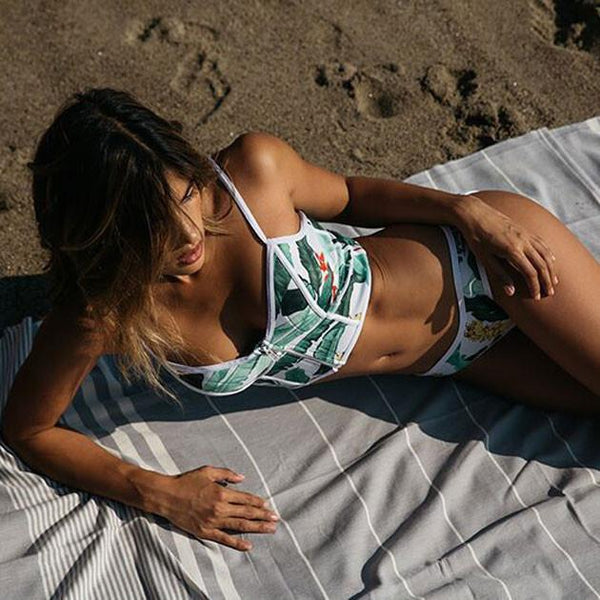Tropical Plant Printing Bikini Sexy Swimsuit Suit For Big Sale!- Fowish.com