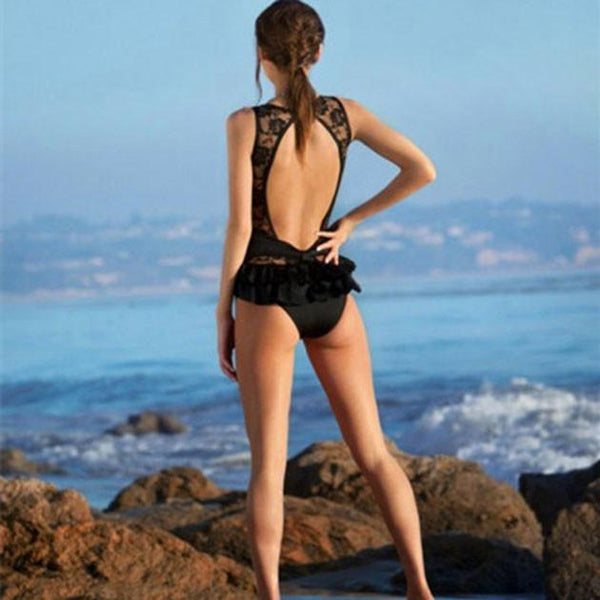 Black One - piece Swimsuit Sexy Triangle Swimwear For Big Sale!- Fowish.com