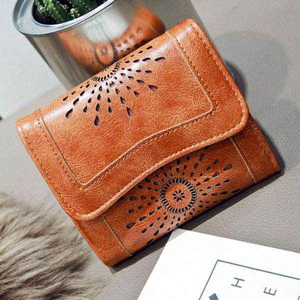 Retro Oil Wax Short Purse Hollow-Out Flower Women's Wallet Clutch Bag For Big Sale!- Fowish.com