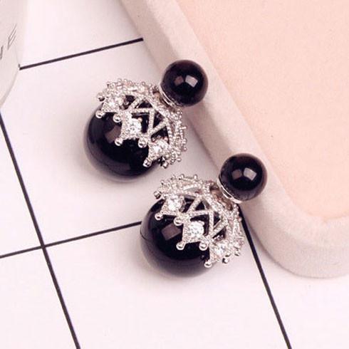 Cute Shining Hollow Diamond-bordered Pearl Amphibious Women's Earring Studs For Big Sale!- Fowish.com