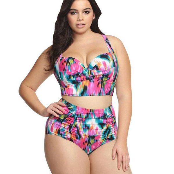 New Large Size Colorful Lattice Women's Bikini Sexy High Waist Swimsuit For Big Sale!- Fowish.com