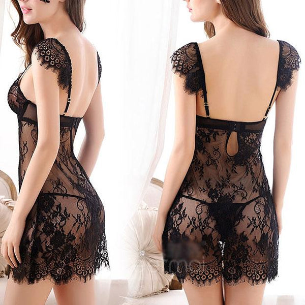 Sexy See Through Flower Embroidery Push Up Braces  Women's Lace Skirt Lingerie For Big Sale!- Fowish.com