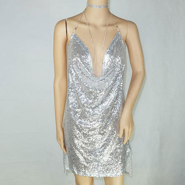 Sexy Halter Sequined Dress Diamond Women's Party Short Dress For Big Sale!- Fowish.com