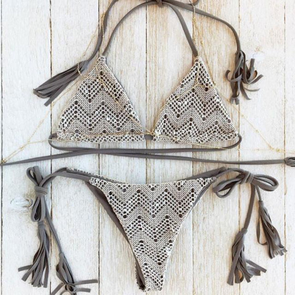 Gray Printed Bikini Tassels Lace Split  Swimsuit Bathingsuit For Big Sale!- Fowish.com