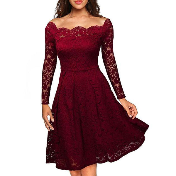 Elegant Sexy Lace Strapless Boat Neck Crochet Dress Party Dress For Big Sale!- Fowish.com