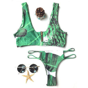 Pineapple Printing Zipper Lady Split Vest bikinis Swimsuit Summer Bathingsuit For Big Sale!- Fowish.com