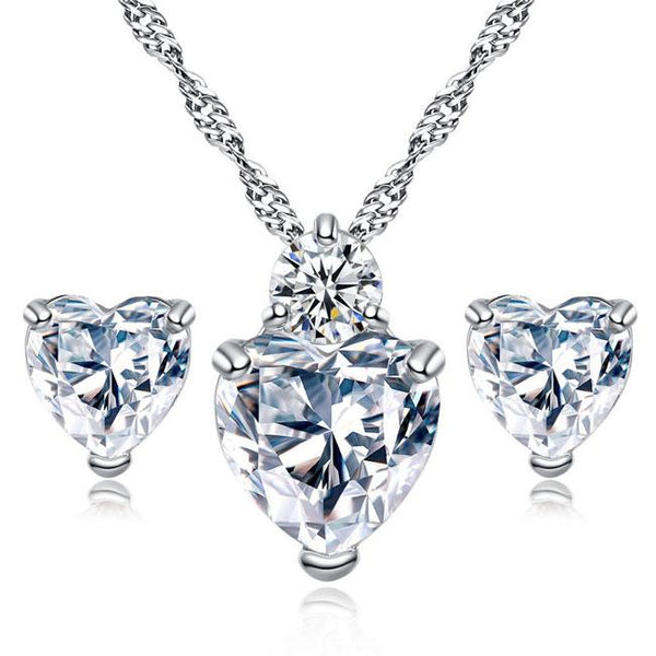 Shining Sincere Love Heart Crystal Zircon Necklace Earring Studs Set For Big Sale!- Fowish.com