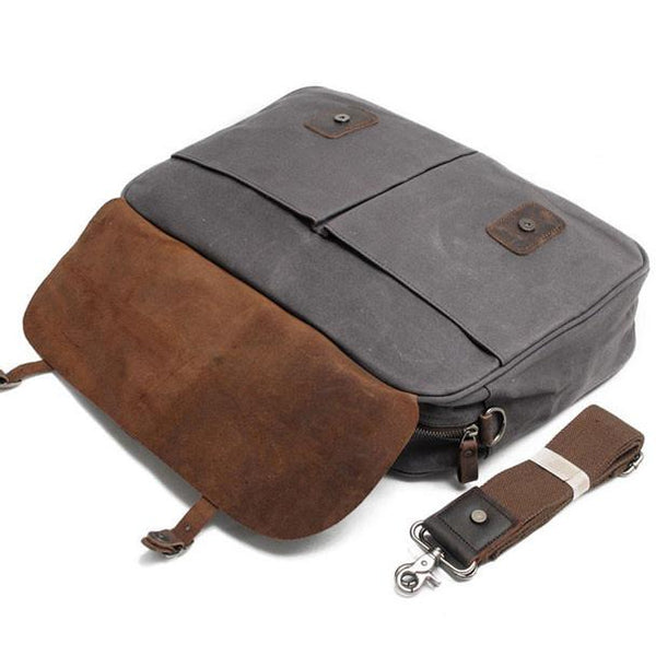 Retro Splicing Leather Thick Canvas Waterproof Magnetic Snap Large Laptop Shoulder Bag For Big Sale!- Fowish.com