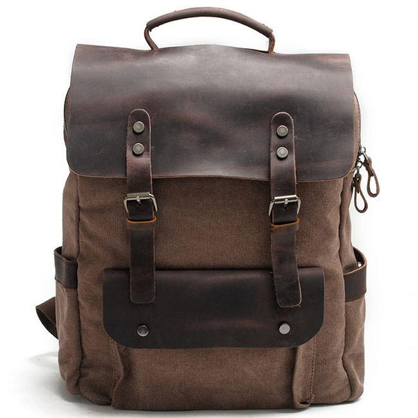 Retro Large Thick Canvas Travel Bag Rucksack Splicing Leather Camping Backpack For Big Sale!- Fowish.com