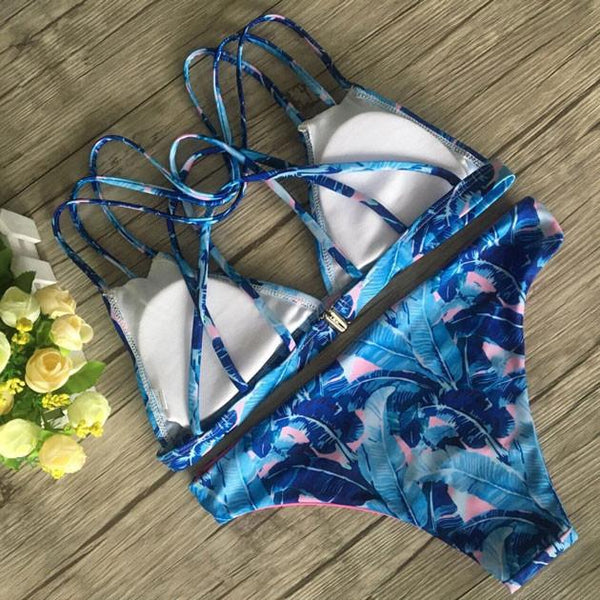 Fashion Blue Banana Leaves Printed Bikini Set For Big Sale!- Fowish.com