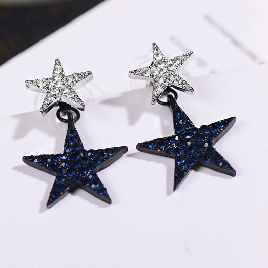 Cute Accessories  Stars Eardrop Diamond-bordered Double Stars Women's Earring Studs For Big Sale!- Fowish.com