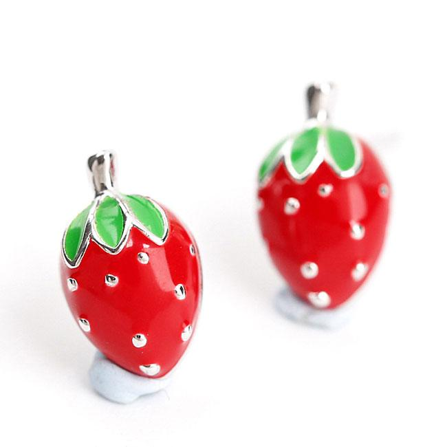 Cute 925 Silver Strawberry Girl Earring Studs For Big Sale!- Fowish.com
