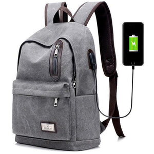 Pure Color Large School Bag USB Interface Zipper Decor Simple Student Canvas Backpacks For Big Sale!- Fowish.com