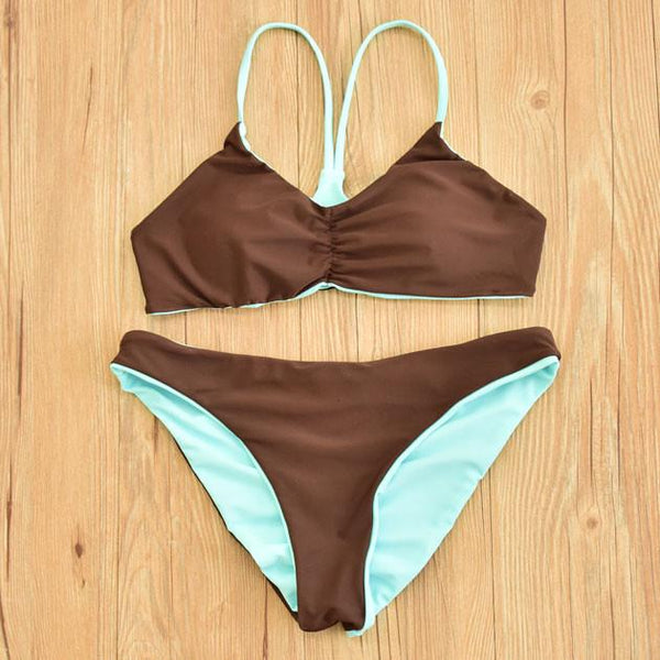 Double Bikini Mint Green Sexy Swimsuit Halter Swimwear For Big Sale!- Fowish.com